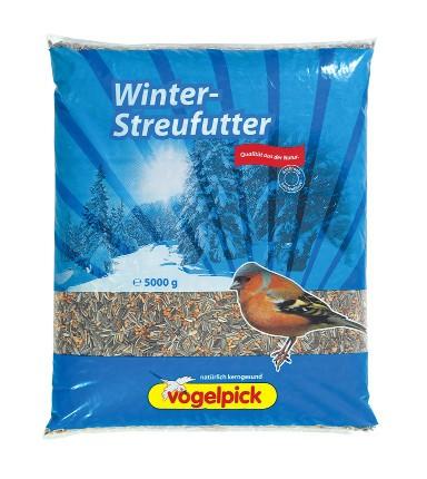 Winter-Streufutter für Vögel in der 5 kg Packung von der Vogelfutter-Marke Vogelpick.