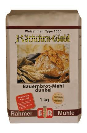 Dunkles Weizenmehl für Bauernbrot Type 1050 in der 1 kg Packung.
