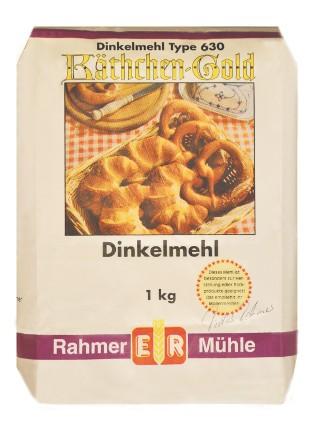 Dinkelmehl Type 630 kaufen: die 1 kg Packung von Rahmer Mühle.