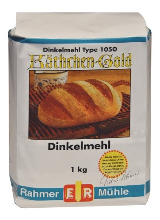 Dinkelmehl Type 1050 online kaufen: die 1 kg Packung von der Marke Käthchen-Gold.