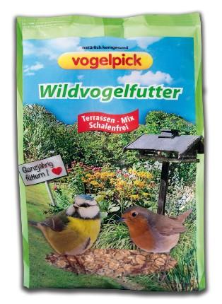 Wildvogelfutter kaufen von Vogelpick: Terrassen-Mix ohne Schalen.