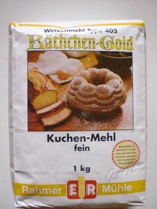 Kuchen-Mehl Type 405 abgepackt in der 1 kg Packung.